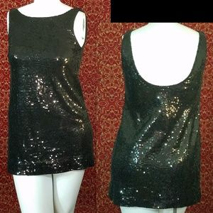 FREE PEOPLE Black sequin mini tank dress